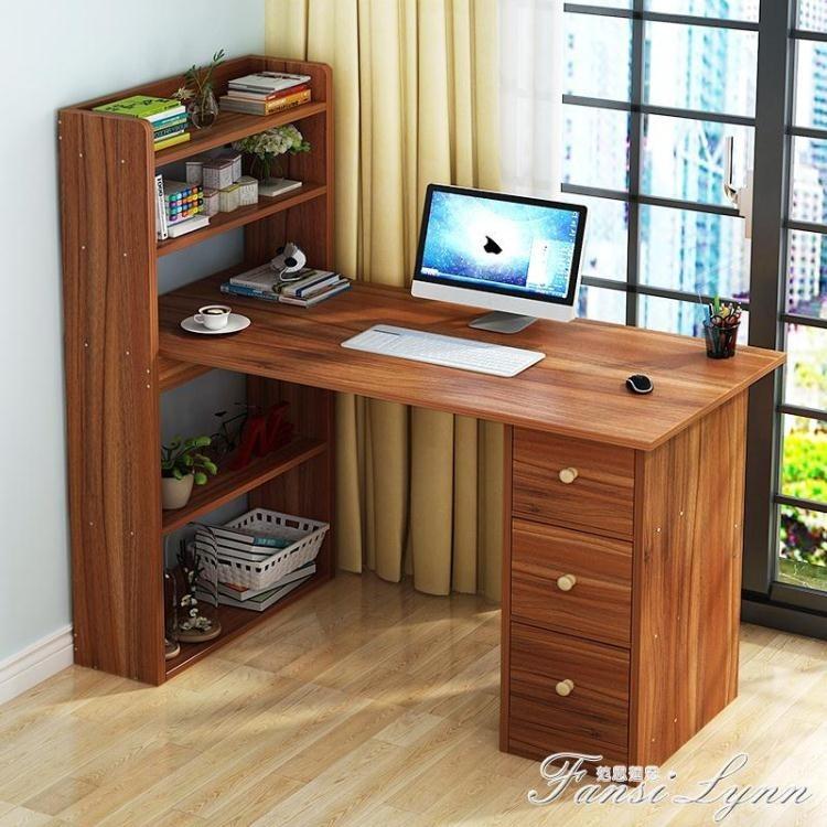 HOT!新品上線 滿額領卷立即折扣轉角書桌書架組合簡約現代經濟型帶書櫃簡易電腦台式桌家用學習桌