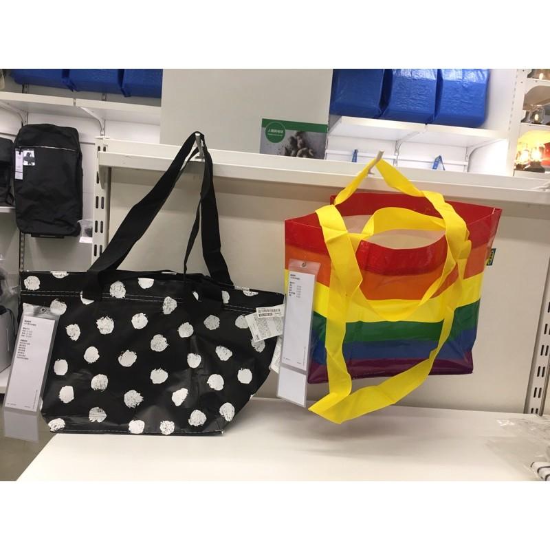 IKEA SKRUTTIG 彩虹🌈購物袋 黑色圓白點袋子 13公升 手提袋 揹袋 環保袋 防摔 耐重