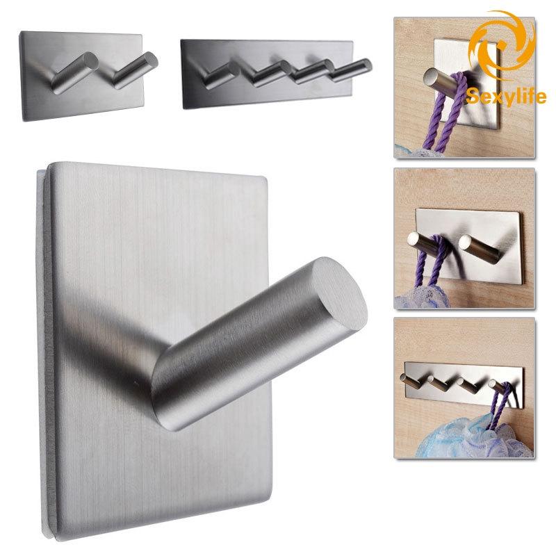 Sexylife304 不銹鋼自粘掛鉤鑰匙扣廚房毛巾架