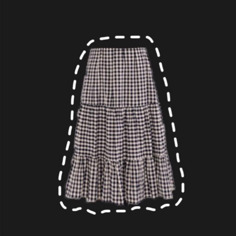 50% 朝陽格紋拼接荷葉襬長裙
