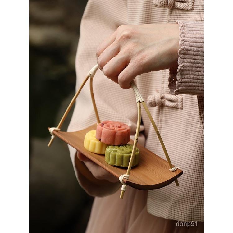 水果盤 瀝水盤 收納盤 糖果盒點心盤 創意收納盒 乾果盤竹製提拿水果盤子果籃糖果盤前台茶點盤茶道中式精緻茶幾客廳家用