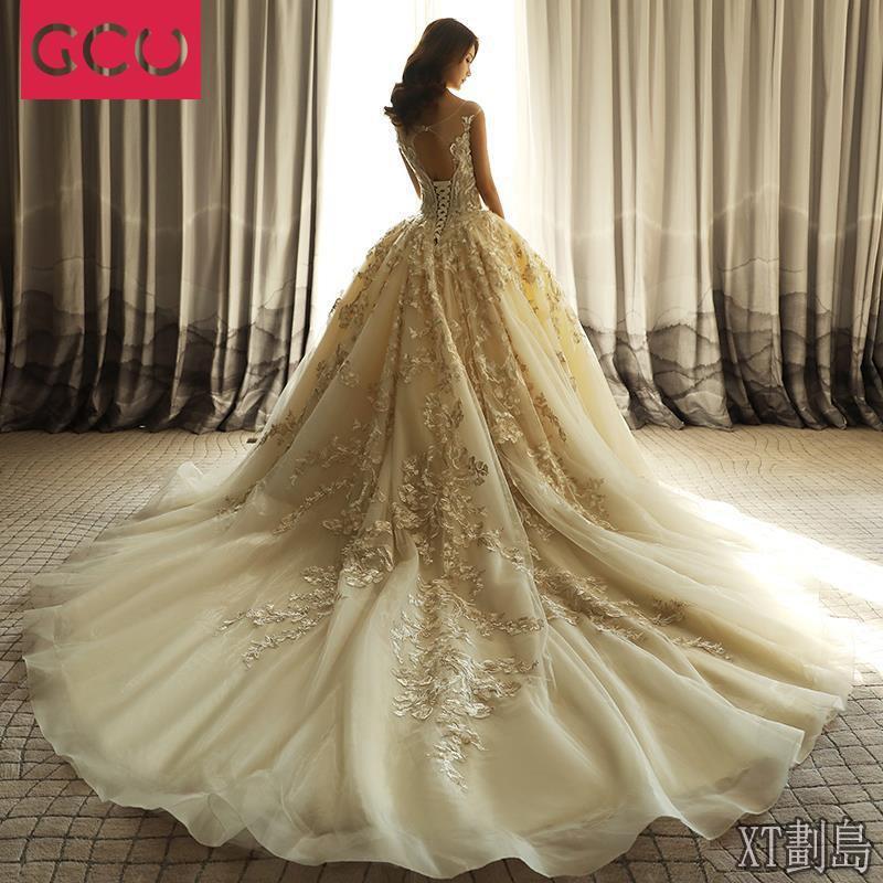 XT【婚紗2020】一字肩婚紗2020新款新娘結婚韓式禮服拖尾顯瘦奢華孕婦女重工花瓣