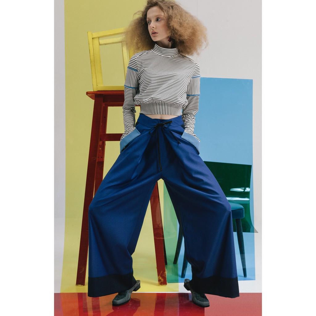 ENVOL AVEC NING 邱美寧 大雙摺綁帶寬褲拉長顯瘦特色款 寶藍 全新 隋玲同款