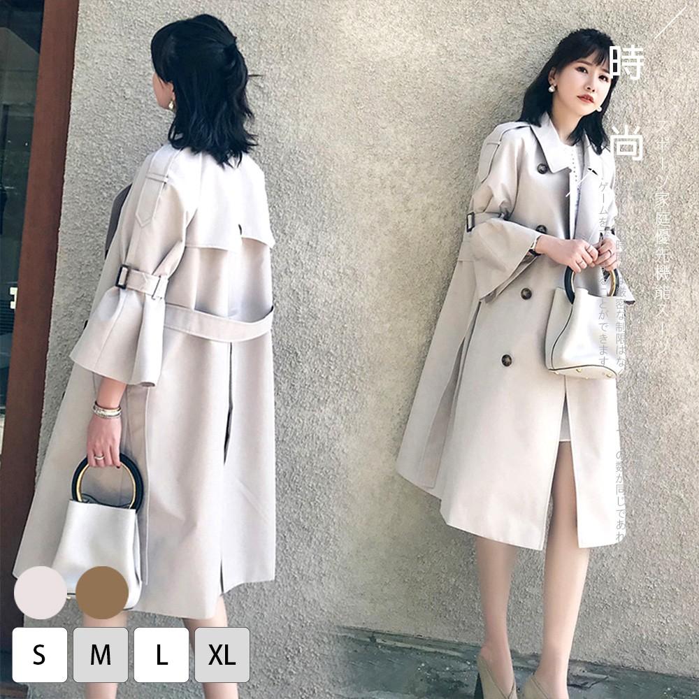 【KISSDIAMOND】法式巴黎中長版雙排扣喇叭袖風衣外套-KD-8851