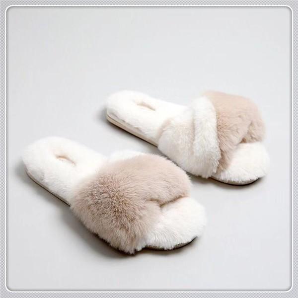 秋冬新品小兔絨簡約魚口辦公室拖鞋 防滑室內家居拖鞋