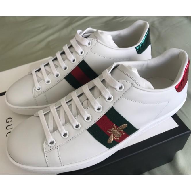 GUCCI 小蜜蜂鞋子 小白鞋 明星同款Embroidered Sneaker 蜜蜂鞋 小白鞋 男女款 白色