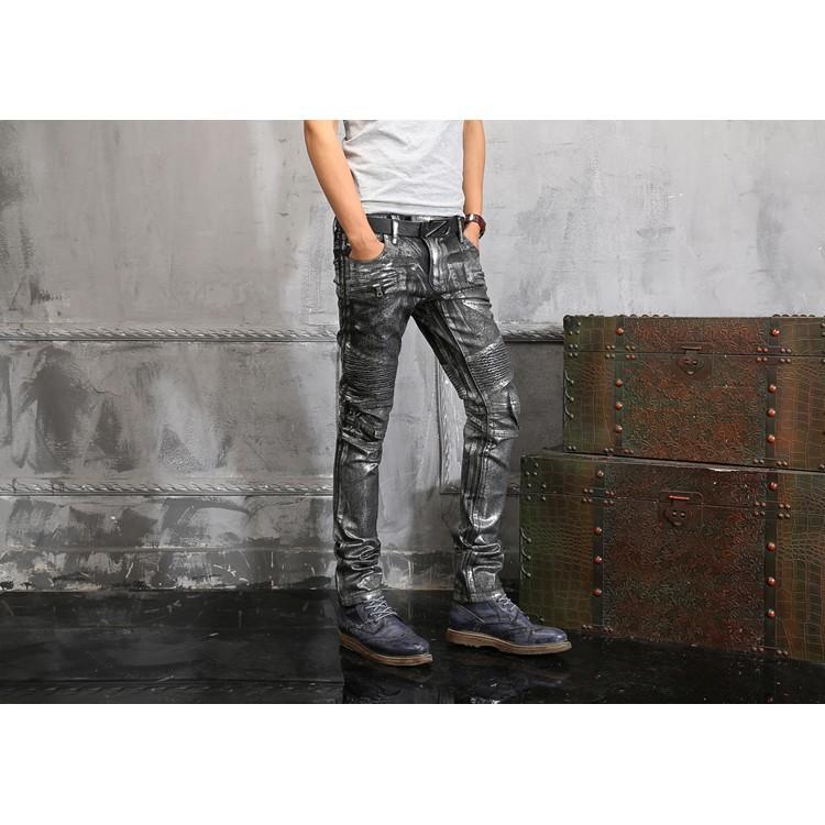 實拍現貨BALMAIN JEANS牛仔褲 歐美風破洞時尚男士牛仔褲 巴爾曼彈力修身牛仔褲 長褲 丹寧牛仔五袋褲
