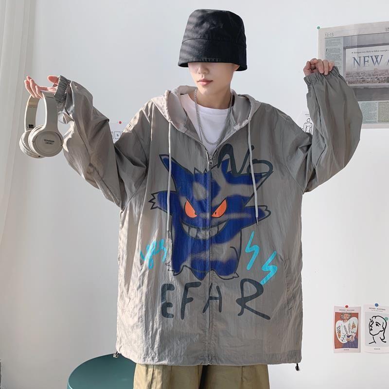 機能防護夾克 機能防護外套 夏港風防曬衣男潮牌薄款夾克ins韓版寬鬆潮流學生防曬服嘻哈外套