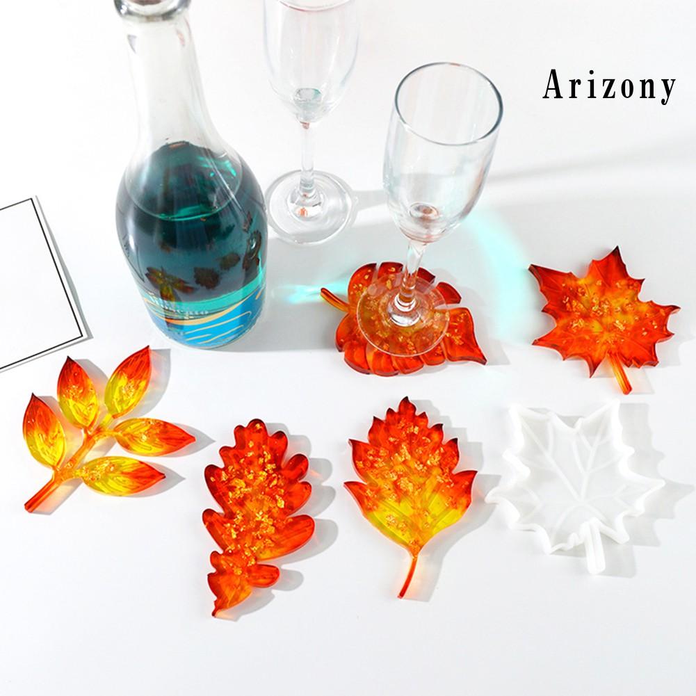 Ay 聖誕 Diy 楓葉形狀矽膠環氧杯墊聖誕節裝飾工藝模具