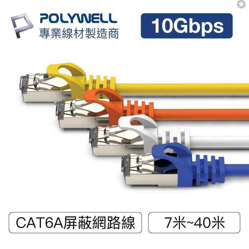 POLYWELL CAT6A 高速網路線 7米~40米 10Gbps 網路線 RJ45 福祿克認證 寶利威爾 臺灣現貨