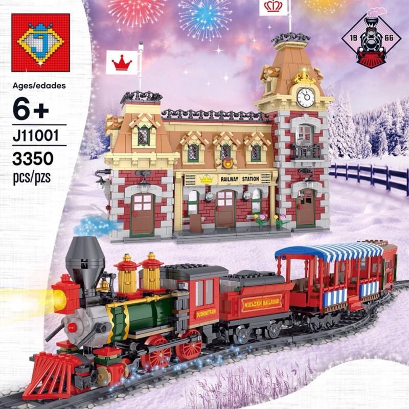 J牌 11001 迪士尼系列之 迪士尼火車與火車站(動力版、附人偶)兼容樂高 71044 拼裝積木