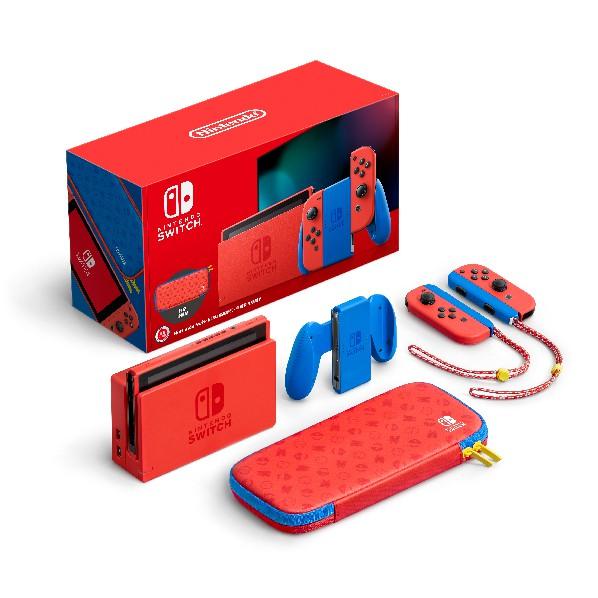 Nintendo Switch 瑪利歐亮麗紅 X 亮麗藍 主機組合 台灣公司貨