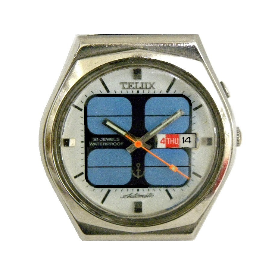 [專業模型] 機械錶 [TELUX 7678-A] 鐵力士 圓型自動錶[太陽能面+星期+日期][21石]中性錶/軍錶