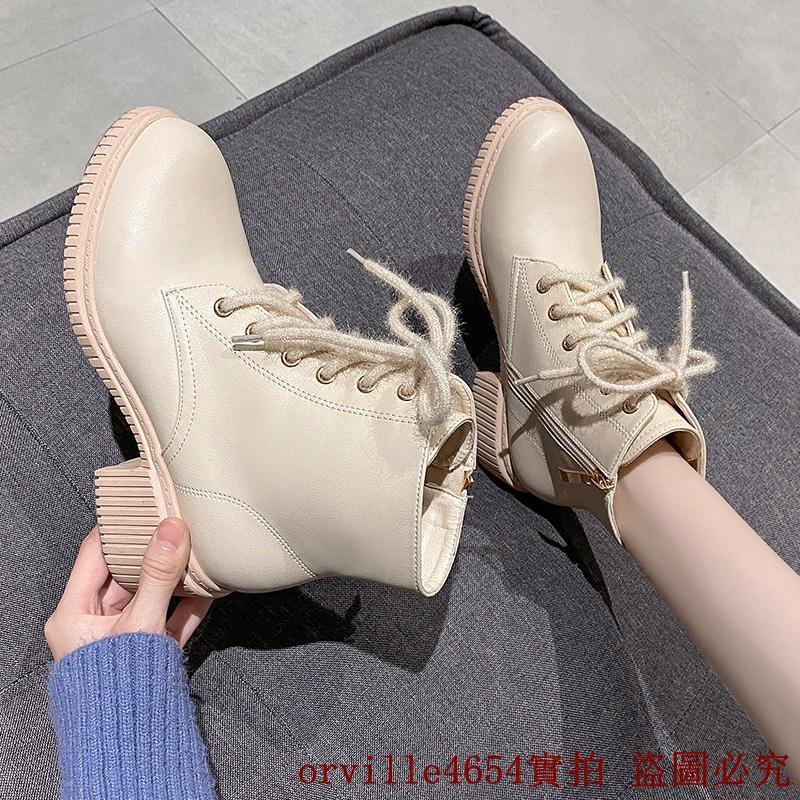 冬季百搭ins超火2020秋季新款靴子女短靴春秋單靴馬丁靴英倫風粗跟中跟白色小碼鞋