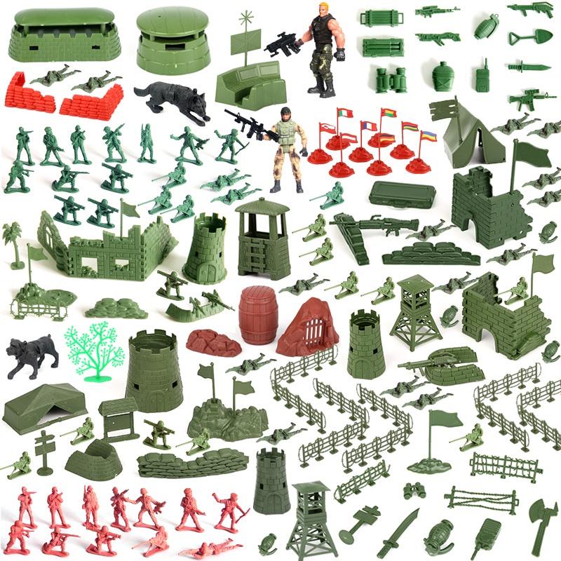 兒童3d軍事兵人建築裝備武器模型兒童玩具堡壘城牆阿兵哥沙盤場景擺設道具益智早教購買120片以上送收納箱解壓玩具