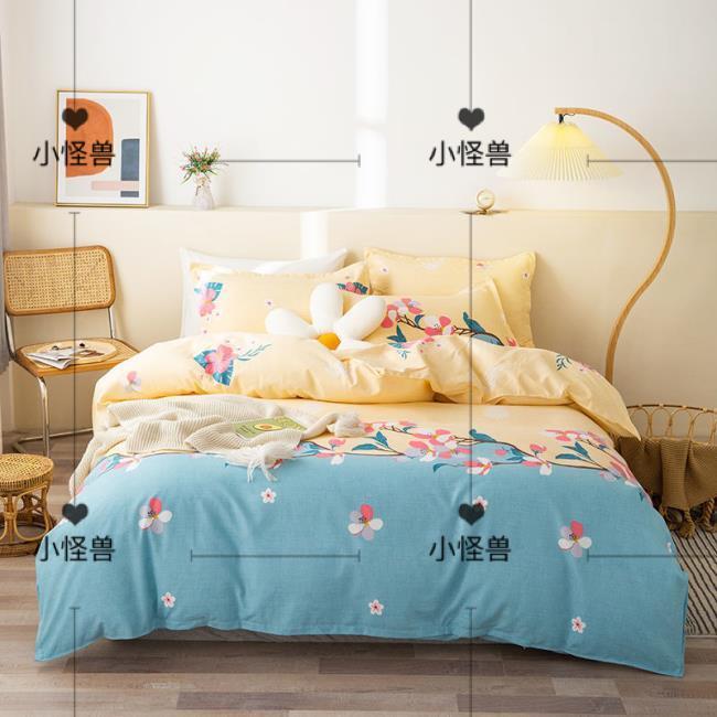 【熱賣】標準單人床包被套四件組 床上用品網紅親膚被套1.8米床罩學生宿舍0.9床 120X200 被套四件組小怪獸