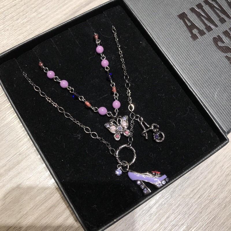 正品 Anna sui 安娜蘇 迷幻 紫色 蝴蝶 高跟鞋 雙項鍊 頸鏈 隨意搭配 短項鍊 長項鍊 華麗款 經典款