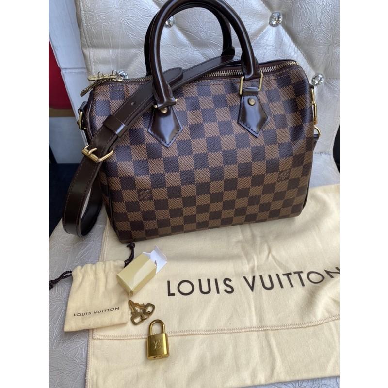 真品LOUIS VUITTON N41368 LV 棋盤格紋Speedy25cm 波士頓包