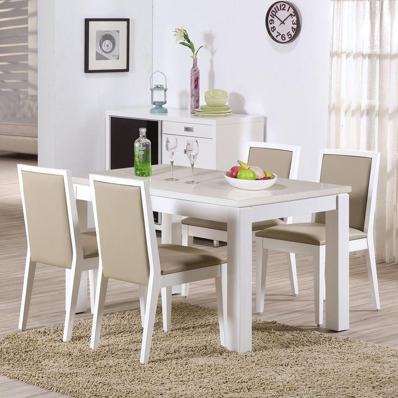 【HB441-01】喬伊4.3尺白色石面餐桌(白)