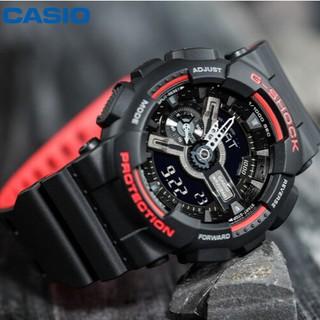 卡西歐手錶 G-Shock 青年系列男士防震防磁運動手錶雙色手錶,  帶石英表 Ga-110Hr-1A 情侶多功能防水女錶