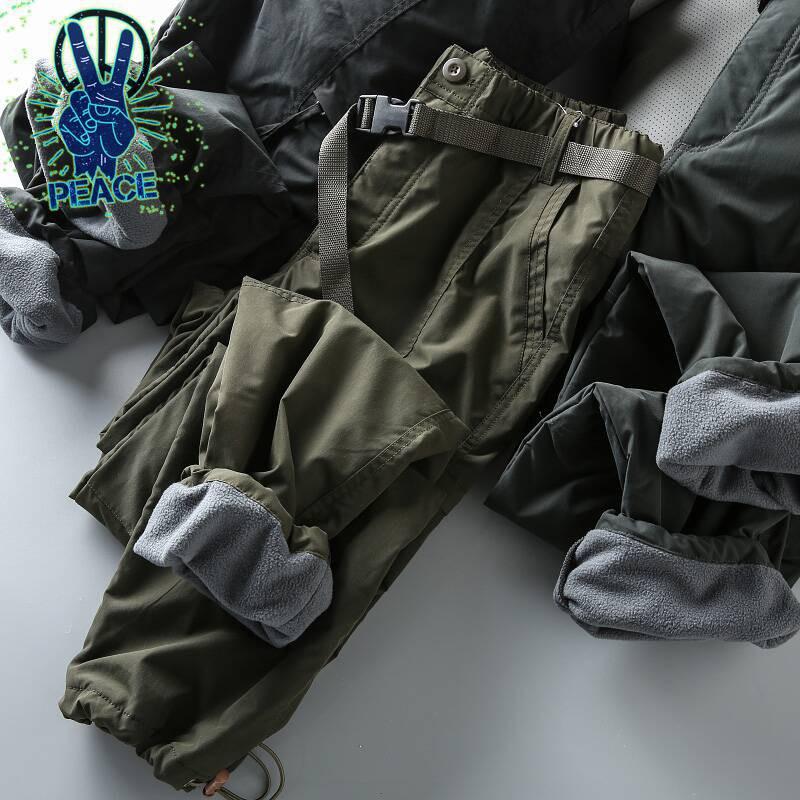 雙十二福利款!科技防風防水!冬季男士戶外加絨保暖工裝休閑褲