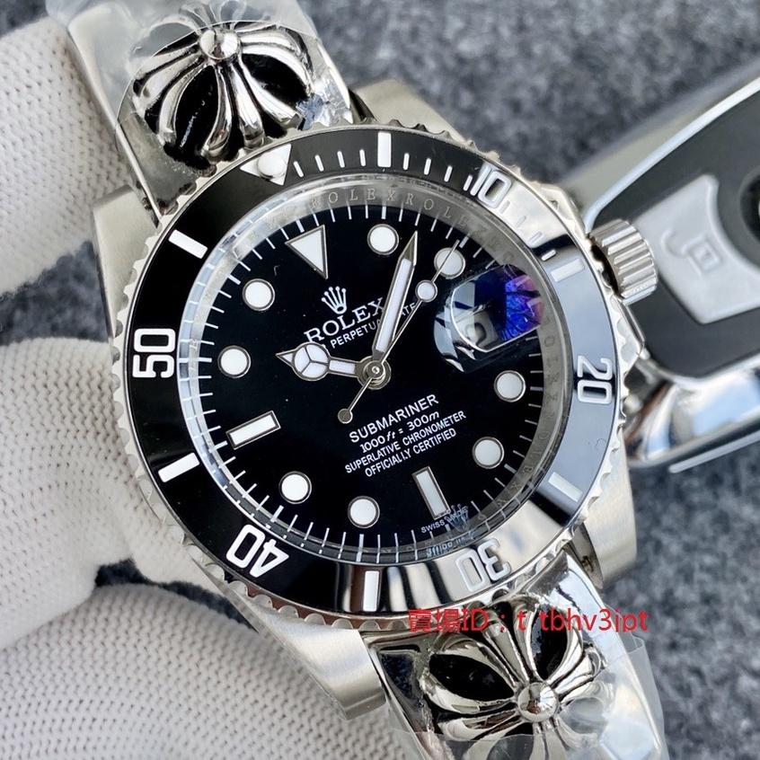 勞力士Rolex手錶 41mm 綠水鬼克羅心系列 男士頂級時尚腕錶 黑水鬼機械錶 316L精鋼勞力士男錶 超級夜光