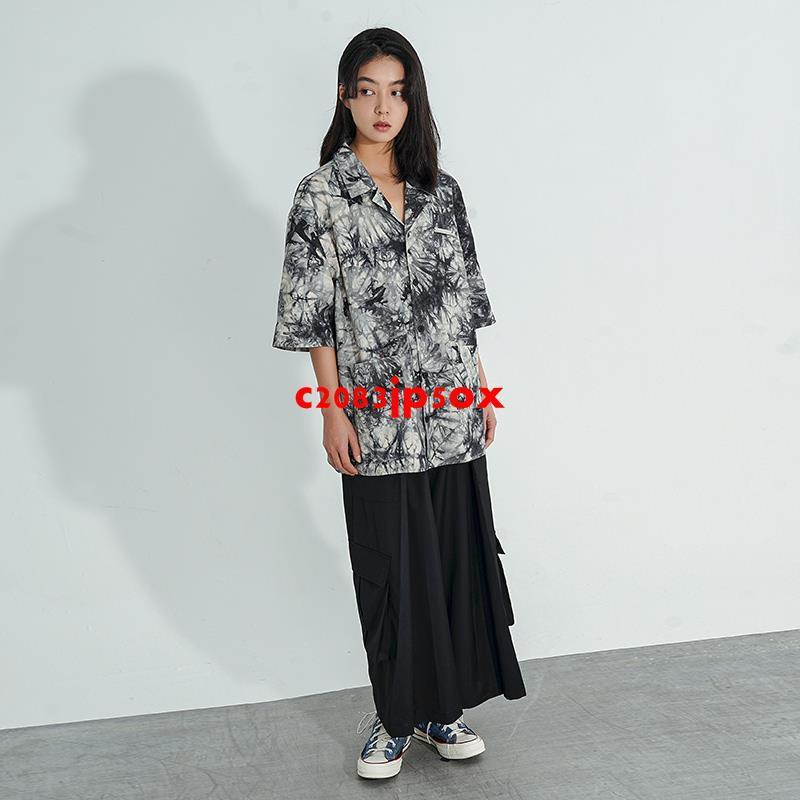 CBIANA/21SS 原創潮牌曾可妮同款扎染短袖襯衫街頭寬松半袖襯衣