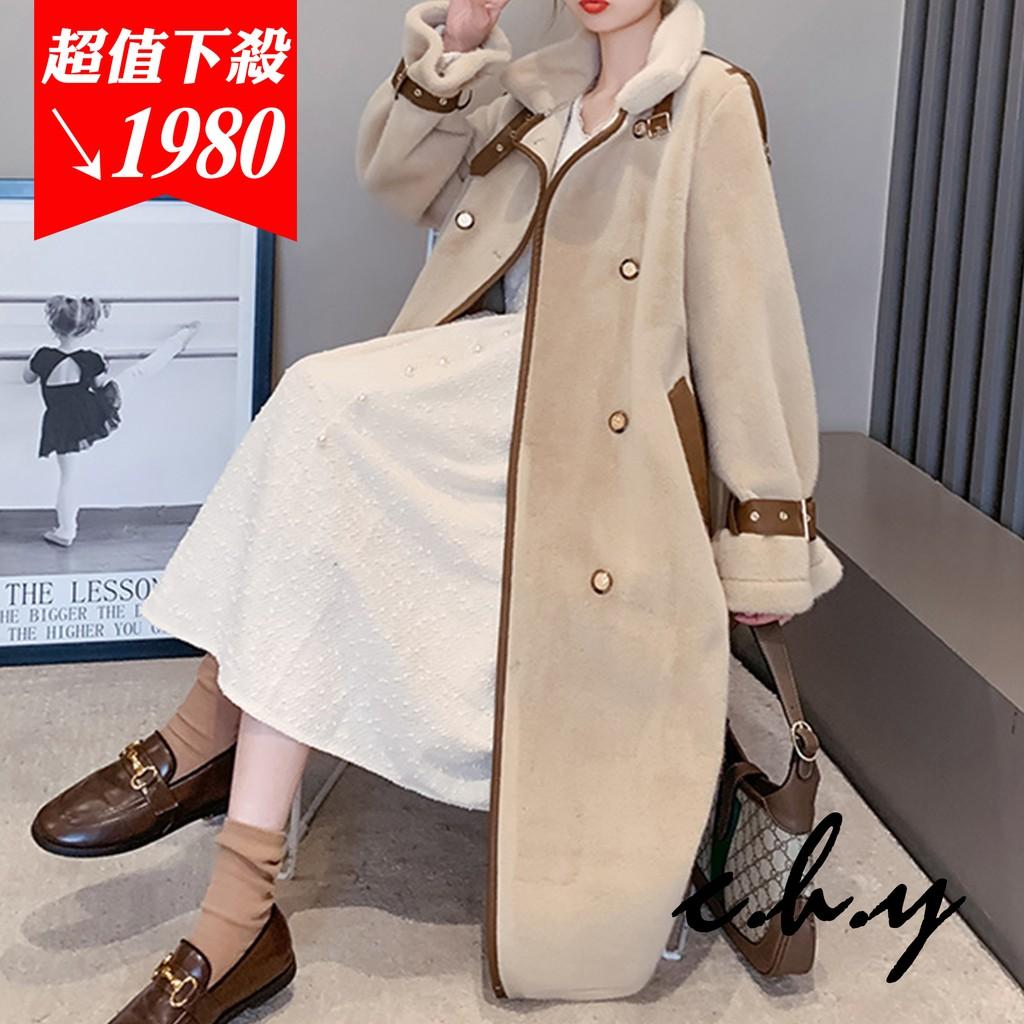 時尚優雅小香風名媛氣質仿貂绒羊羔毛絨綁帶大衣外套-長款-S-XL-20107039