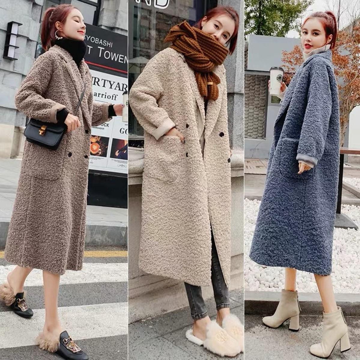大衣女2021新款韓版寬松長款過膝羊羔絨加厚外套【小雨滴】