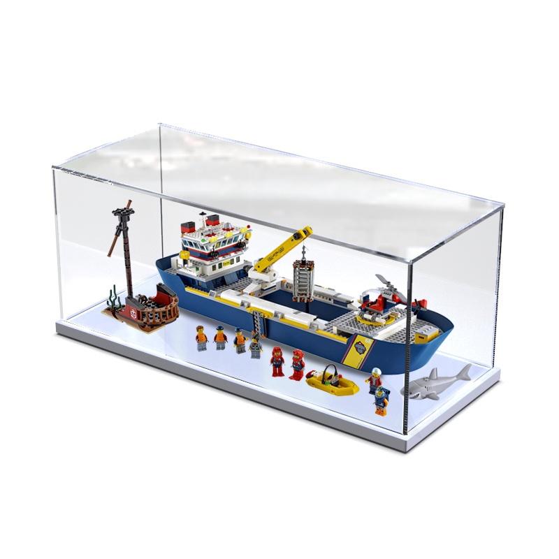 ◐✘積木防塵盒適用樂高城市系列 60266 海洋探險巨輪收納 模型展示盒