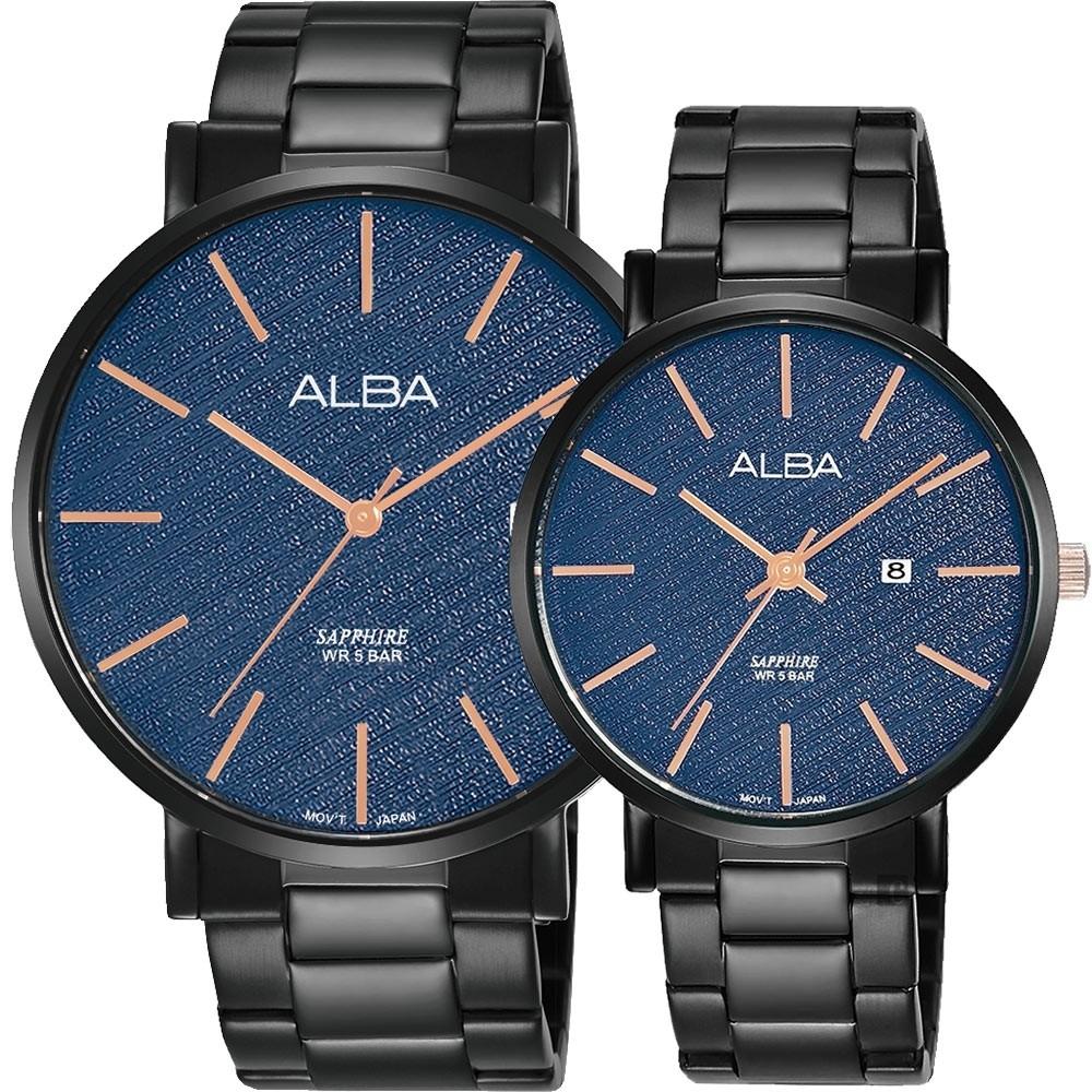ALBA雅伯 木質紋 全黑時尚對錶/藍寶石水晶玻璃 42/34mm