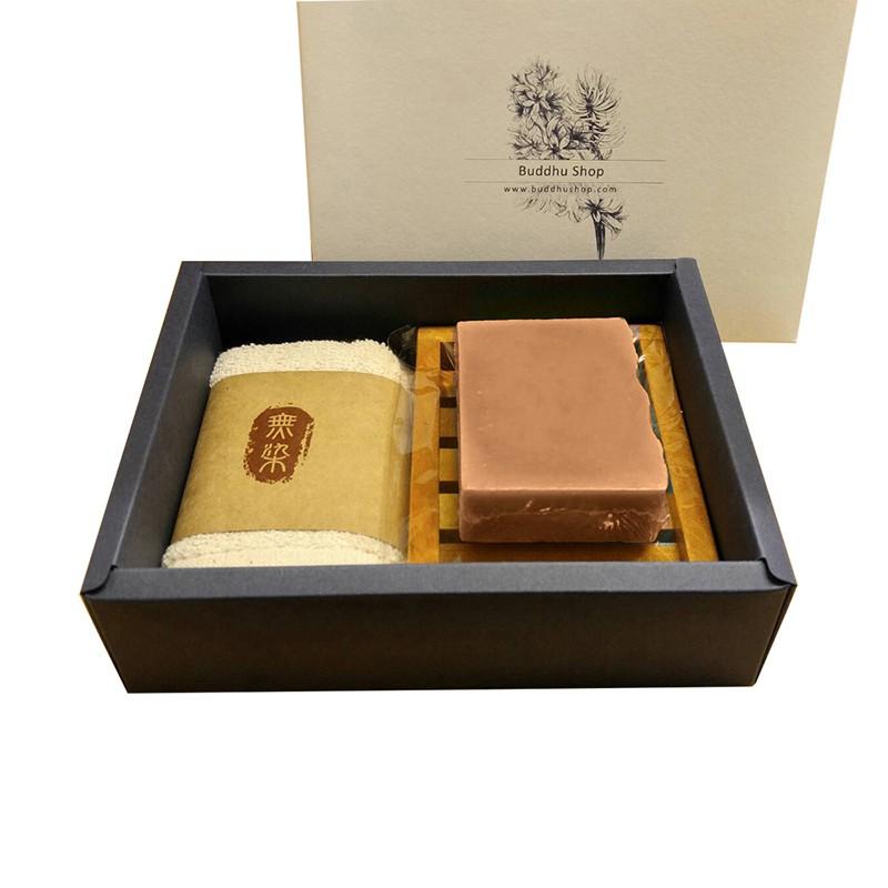 布度工坊 Buddhu Shop 印度苦楝巧克力皂 台灣檀木 無染毛巾 皂盤 手工皂 禮盒組