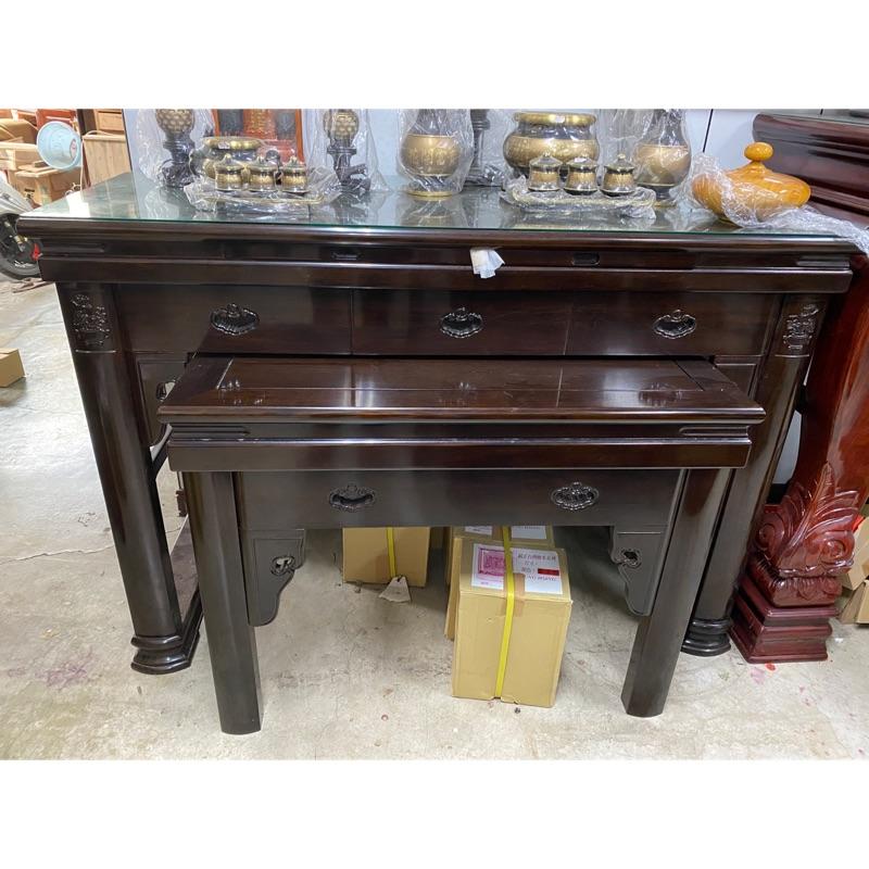鹿港神桌;佛桌,纯正黑紫檀神桌;4尺宽或5尺1進口;花開富贵黑紫檀型;公媽桌;神明桌,佛俱,佛桌