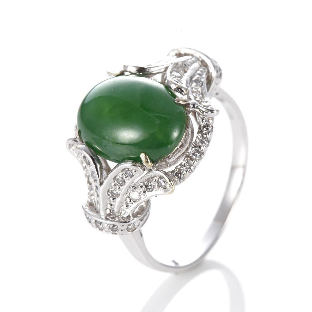 Dolly 緬甸 滿綠翡翠 14K金鑽石戒指