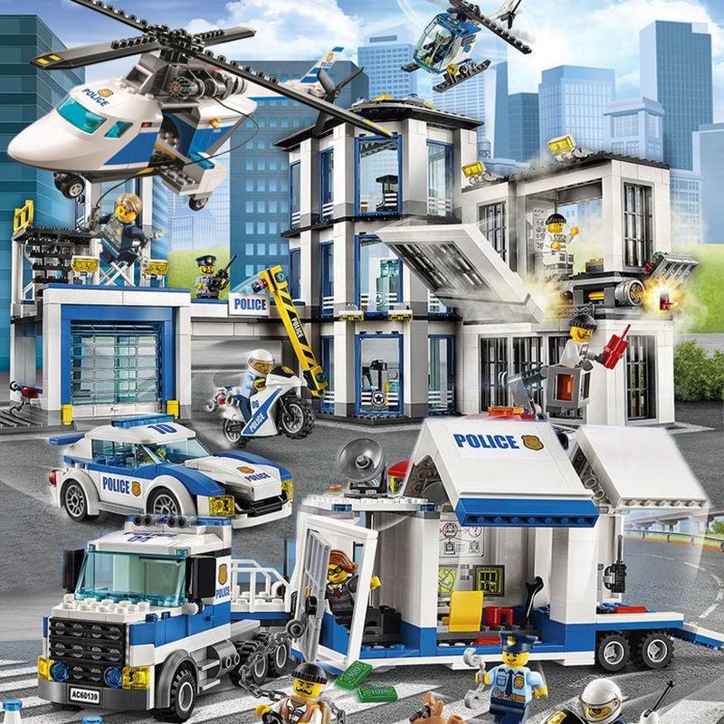 樂高積木城市系列警察局組裝消防部門飛機火箭益智男孩玩具