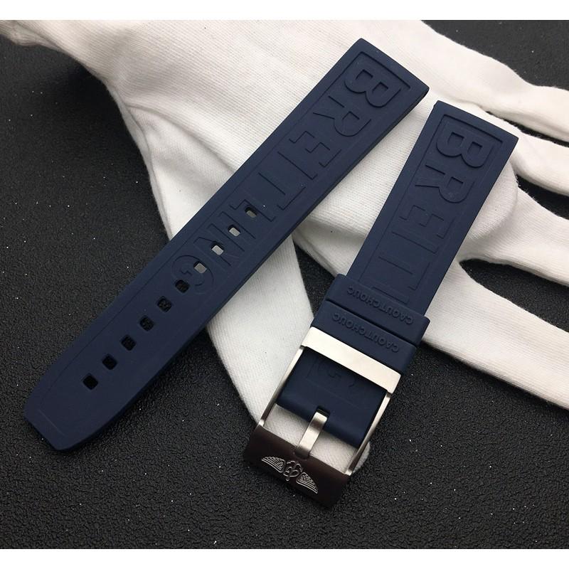 代用Breitling百年靈手表帶復仇者進口氟橡膠22mm黑鳥黃狼深藍色