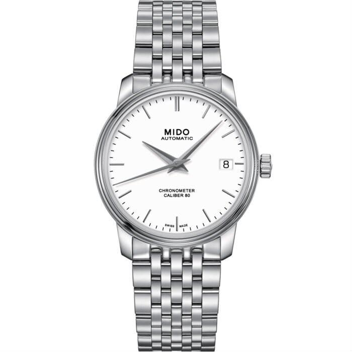 Mido 美度錶 M0272081101100 Baroncelli系列天文台機械腕錶/白 34mm