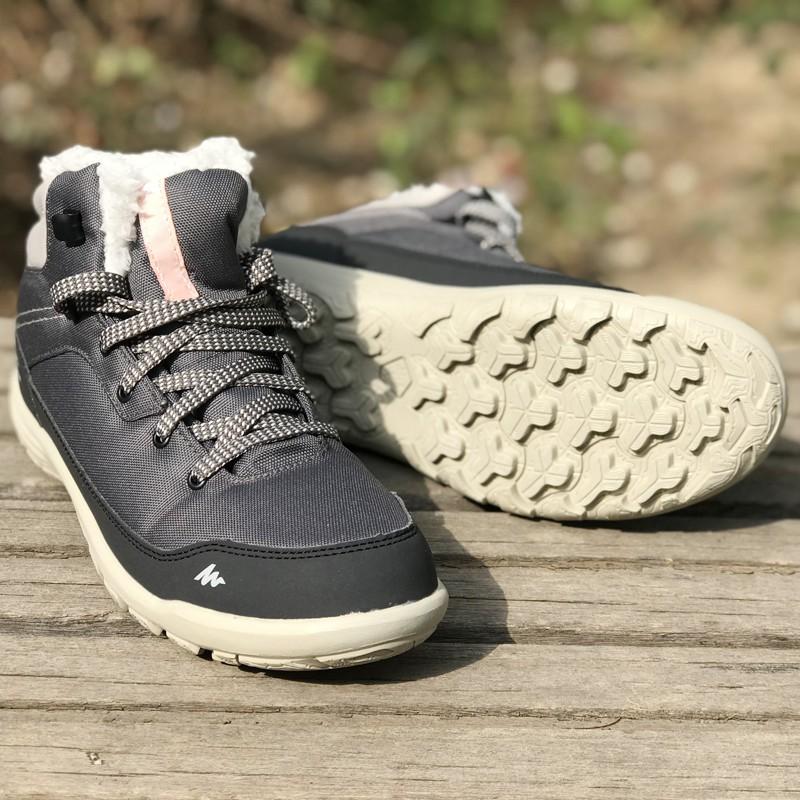 ✘ஐ迪卡儂戶外運動登山鞋女士秋冬保暖防滑徒步鞋加絨雪地鞋