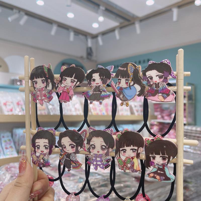 日本動漫兒童卡通7代蝴蝶忍鬼滅之刃頭繩髮圈髮繩飾品