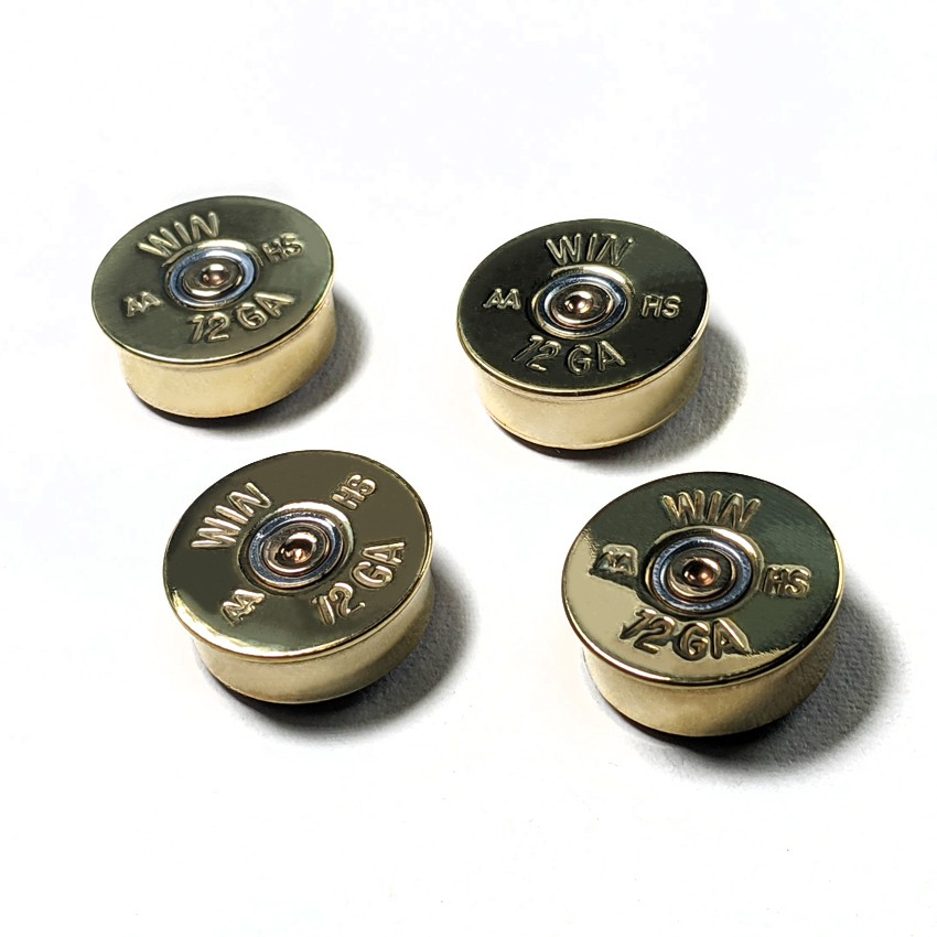 Bullet - 12口徑 散彈槍子彈 強力磁鐵(4入/黃銅)造型立體創意超強力超強磁鐵 玻璃白板冰箱圓形文具卡通吸鐵