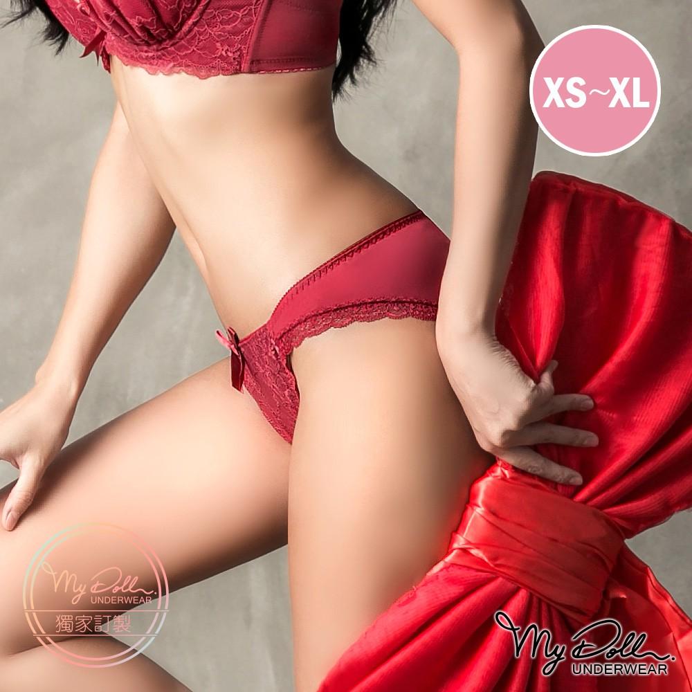 內褲【獨家訂製】MyDoll 訂製光芒x日系蕾絲彈性中低腰三角褲(棗紅色/XS到XL適穿)