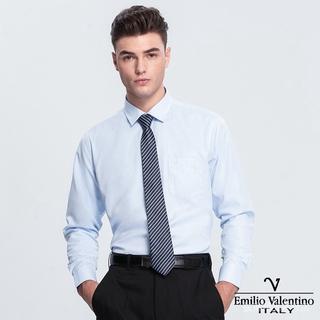 Emilio Valentino 范倫提諾斜紋長袖襯衫-藍 eNkC