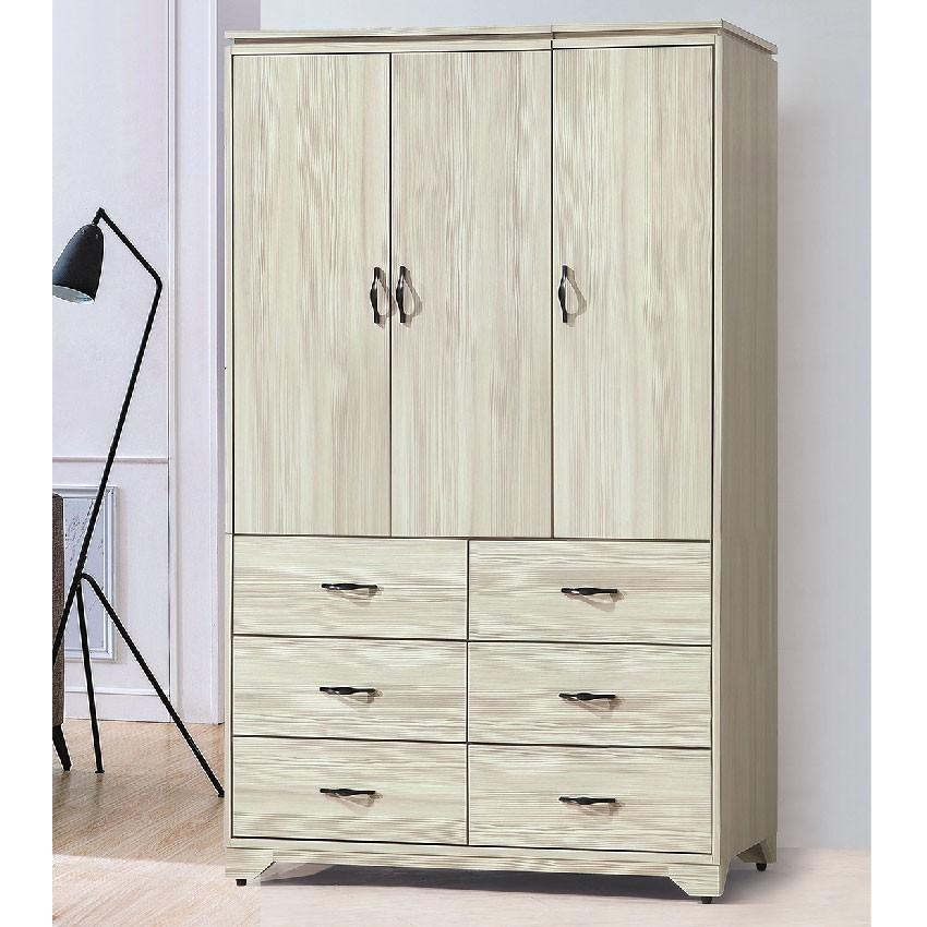 【119cm多色衣櫃-E203-6】木心板 推門滑門開門 衣服收納 免組裝 【金滿屋】