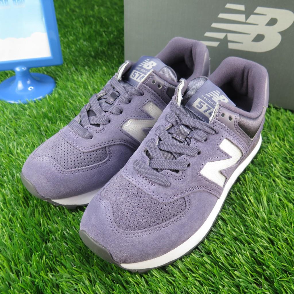 【iSport愛運動】New Balance 亮片LOGO復古鞋 WL574FHB 女款 麂皮紫