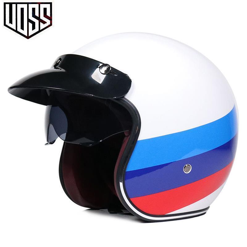 【3/4頭盔】 VOSS復古哈雷頭盔男女半盔踏板機車頭盔半覆式安全帽3/4盔個性酷