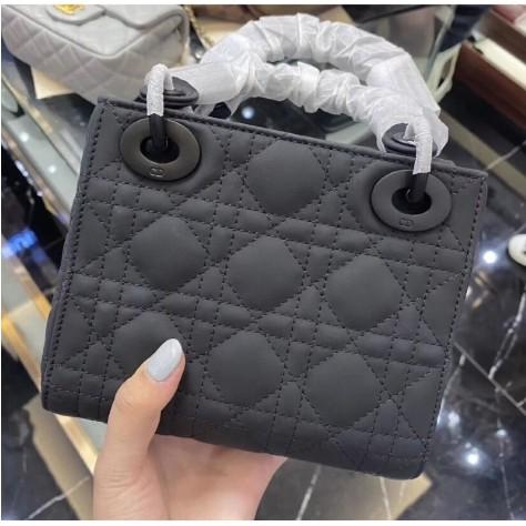 《優優二手》Dior 迪奧包包 爆款Lady Dior 迷你手提包 黑色超啞光三格磨砂戴妃包 側背包 單肩包 肩背包