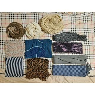 【二手出清】秋冬絲巾圍巾披肩脖圍 拼接兩色歐風幾何圖格紋豹紋條紋  保暖禦寒 藍紫白米咖灰
