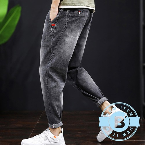 【B+大尺碼專家】大尺碼-0203015-鬆緊褲頭9分縮腳褲-黑刷白/淺藍