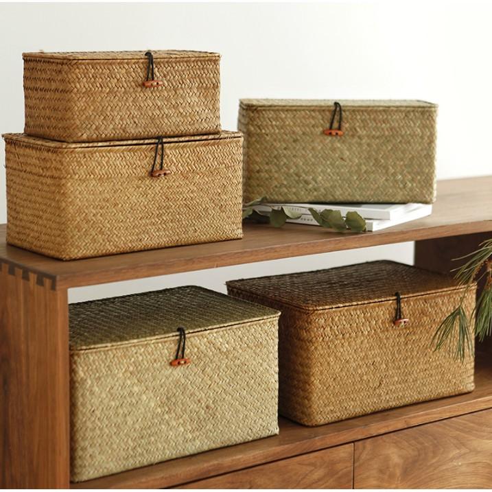 收納箱 帶蓋收納盒 整理箱 桌面零食儲物框 收納筐 籃子 筐子 海草藤編竹編草編編織籃