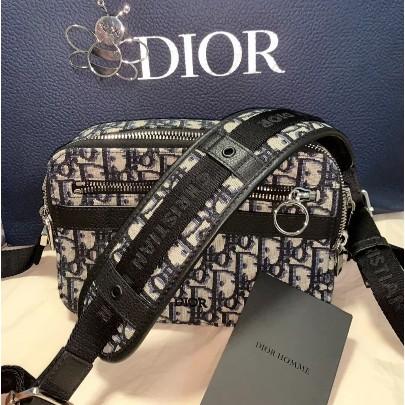 二手正品 近全新DIOR QUAKE Dior Oblique 黑色 緹花 斜背 相機包 手拿包